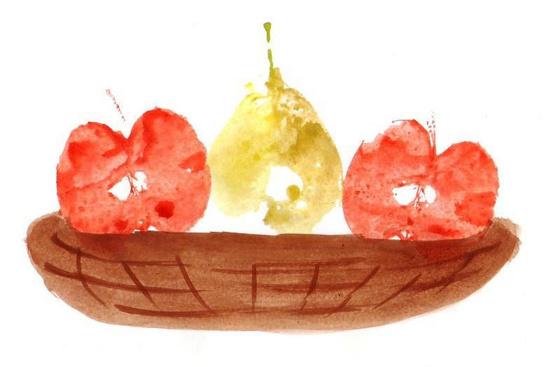 Gyümölcskosár gyümölcsnyomattal